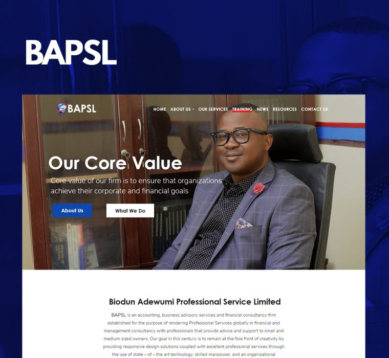 BAPSL Nigeria Website Design