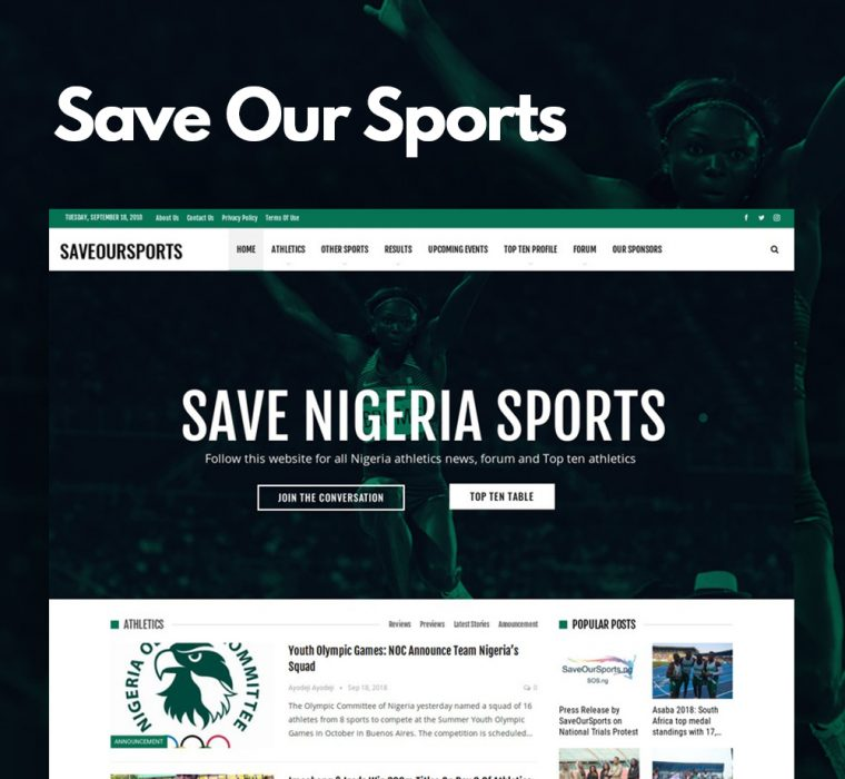 Save Our Sports Nigeria Website Design