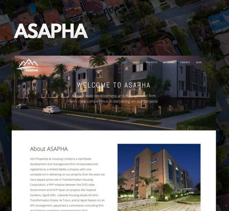Asapha Nigeria Website Design
